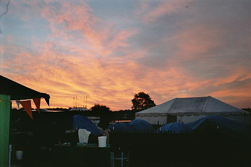 Evening sets in over the race village