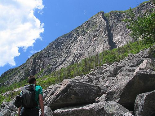 Jowan checking out the Whitney-Gilman, 5.7 - Cannon Mountain