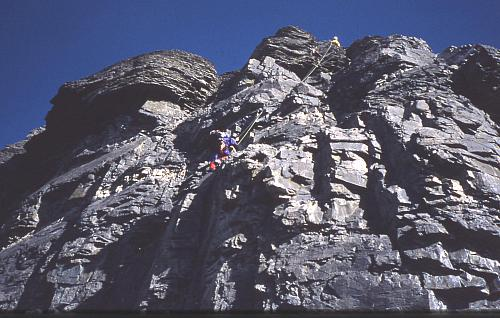 Anugata climbing to the belay