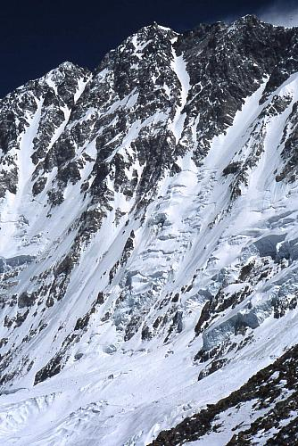 Our route follows the central couloir